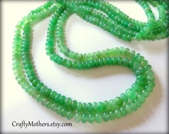 CLEARANCE, Light Green CHRYSOPRASE Smooth Rondelles, 2 inch strand, SELECT a size, luxe rare natural gems - Take 15% off with 15OFF20,