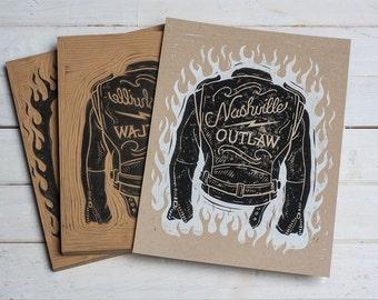 Nashville Outlaw - Kraft Block Print