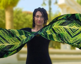 Black is Green Jungle Vine Exotic Photo Art Scarf Silk ready to ship Limited Edition Large Art Scarf