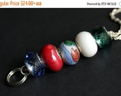 VALENTINE SALE Chinese Lotus Badge Holder. Red Lotus Flower Lanyard. Beaded Lanyard. ID Badge Holder. Red Blue and Green Badge Necklace. Bad