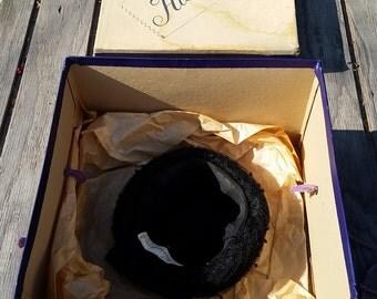 1950s Vintage Harryson Black Pillbox Hat with Harryson Hat Box