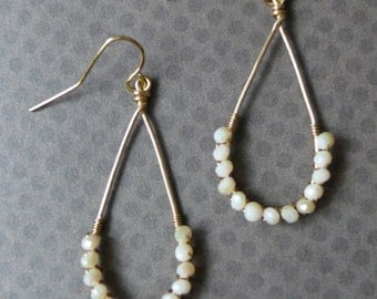 Gold Deep Teardrop Earrings with Wire Wrapped Cream Glass Faceted Beads