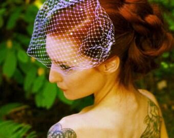 Birdcage Veil with Crystals, Bridal Bandeau Vei, mini Venetian wedding veil Russin Netting Bandeau