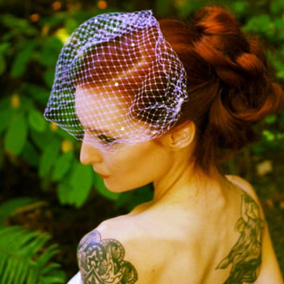 Birdcage Veil, Veil with Crystals, mini Venetian