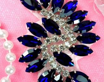 """JB234 Glass Rhinestone Applique Blue Crystal Marquise Swirl 2.5"""" (JB234-blcr)"""