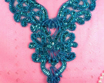 "0035 Turquoise Heart Bodice Yoke 8"" Sequin Beaded Applique (0035-tr)"