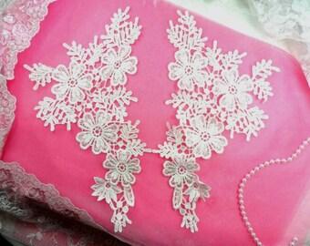 """Venise Lace Appliques Large Mirror Pair White Flowers 12"""" (N98X-wh)"""