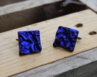 Fused Glass Cuff-links - Purple Blue