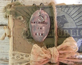 """Spoon Necklace, Stamped Spoon Necklace """"Anchored In Him"""" Chrisitan Necklace, Anchor Charm Necklace, Silver Spoon Jewelry Necklace, Anchor"""