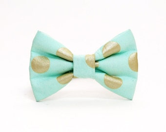 Dog Bow Tie- Mint and Gold Metallic Polka Dot Print- More Colors Available