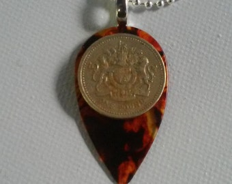 Guitar pick Pendant with British One Pound coin