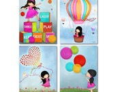Kids Playroom Wall Art Prints Illustrations Set of 4 Posters For Children's Room Nursery Art Colorful Cheerful Girls Room Art Decor Pictures