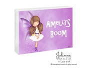 Angel door sign,girls room sign,door hanger,personalized signs,kids room,door plaques,personalized girls art, fairy, purple,kids room signs,