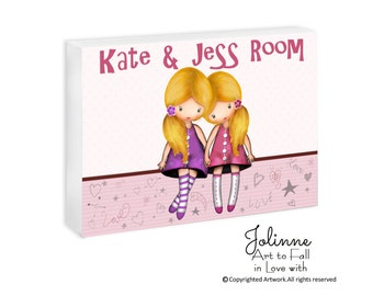 personalized door sign for sisters room,twin sisters door plaque, Girls room door sign, custom names girls sign, sisters forever door plaque