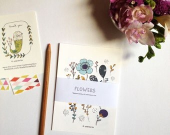 Cards flowers illustrations, floral cards - art print - cards size 4 x 6 inch