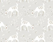 Woodland Gathering Organic Fabric Forest Whimsical Baby Deer and Toadstools on Taupe Light Gray by Clothworks