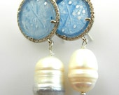 Long dangling genuine baroque pearl and blue cornflower Agate stone earrings - 1970 Italian in steel tone and bright crystals -- Art.464/4 -