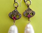 Glamorous genuine baroque pearl dangling long earrings - ITALY brand 925 silver pin earrings - fascinating Art Nouveau remake -- Art.29/4 -