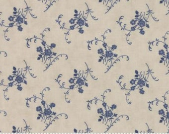 Grand Traverse Bay by Minick and Simpson Floral Fabric Reproduction Fabric 14826 13 Moda Blue Floral Fabric