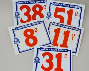 5 Piece Garden State Store Price Cards . Grocery Cards . Cardboard . Prices