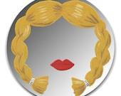 Hand painted mirror - Yellow Braids