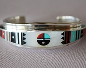 Navajo Silver Inlaid Bracelet Ernest Benally