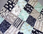 Baby Quilt-Boy Quilt-Navy-Mint-Gray-Grey-Rustic Woodland Baby Bedding-Crib Bedding-Modern Patchwork-Deer-Buck-Antlers-Feathers-Baby Blanket