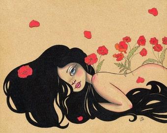 La Petite Mort Poppies Wizard of Oz Fairytale Original Art Giclee fine art print 8x10