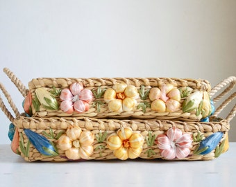 Woven Baskets, Pyrex Dish Carrier, Tropical Decor, Home Organization, Raffia Flowers, Bright Colors,