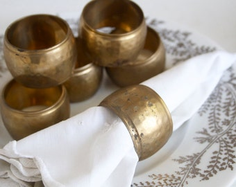 Napkin Rings, Hammered Brass, Boho Style, Set of 6, Tribal, Fall Tableware, Nice Patina