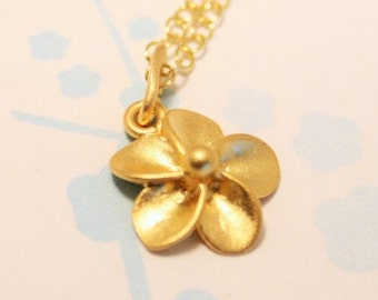 Gold flower necklace. Tiny gold flower. Gold vermeil necklace with gold vermeil chain