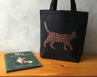 """CLEARANCE - Here, fishy kitty - Koi Cat - Orange Ink on a Black Essentials Tote - On the Go Bag - Handbag Tote - More info in """"Item Details"""""""