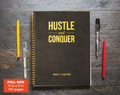 SALE Hustle & Conquer Daily Planner (Black) / Weekly / Full-Size / 12 Months / Choose Layout (Vertical or Horizontal) / Pick Starting Month