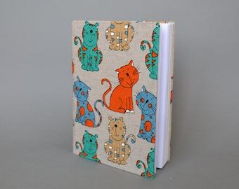 Writing Journal /  Handmade Sketchbook / Handmade Journal / Unique Journal /  Notebook /  Diary /  A5. 8 x 6 inch from linen Cats