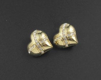 Swarovski Heart Earrings, Swarovski Crystal Earrings, Gold Earrings, Swarovski Earrings