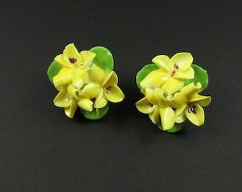 Porcelain Earrings,Porcelain Flower Earrings, Ceramic Flower Earrings, English Porcelain Jewelry, English China Earrings