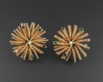 Gold Starburst Earrings, Sea Urchin Earrings, Rhinestone Earrings, Rhinestone Starburst Earrings, Wirework Earrings