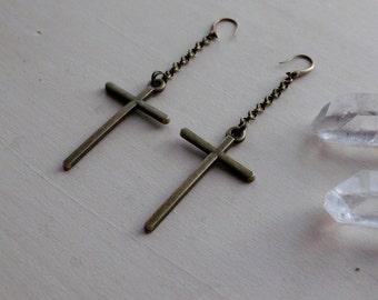 Bronze Cross Drop Earrings