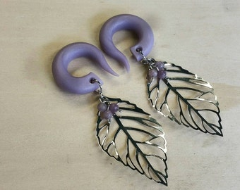 Purple Amethyst Budding leaf Gauged Earrings Plugs