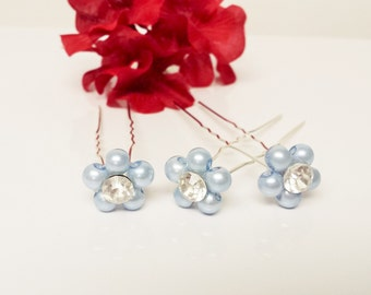 Pool Blue Pearl Hair Pins - Set of 3 Bridesmaid Hair Pins - Rhinestone Flower Girl Hair Accessories