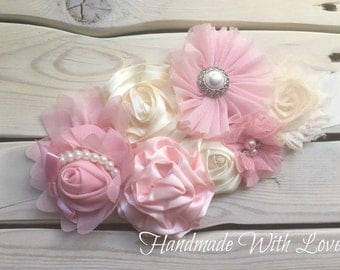 Sweet Pink and Cream Diamonds and Pearls MATERNITY Sash--Photo Prop