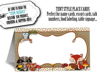 12 Tent Style Place Cards, Food Label Cards, Table Signs, Baby Woodland Forest Animals, Bridal Shower, Baby Shower, Birthday Party