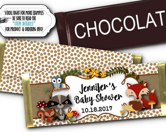 12 Candy Bar Wrappers, Party Favors, Baby Woodland Forest Animals, Baby Shower, Birthday Party, Fox, Raccoon, Squirrel, Owl, Hedgehog