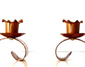 Vintage Copper Candleholders Copper Candle Holders Set of Two Hammered Copper Candlesticks
