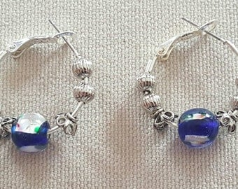 Blue Glass Bead and Silver Hoop Earrings FREE SHIPPING