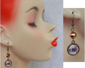 Steampunk Gold Eye & Wing Charm Drop/Dangle Earrings Handmade Jewelry Fashion Hook NEW