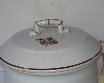 Antique Ironstone White Alfred Meakin Gold Tea Leaf Chamber Pot with Lid, 1890's, Royal Ironstone China, , Vintage Pottery