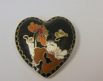 Vintage Black Cloisonne Enamel Heart Butterfly  Pendant