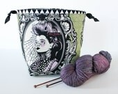 REVERSIBLE Drawstring Square-Bottomed Project Bag Knitting Crochet - Tula Pink Nightshade Coven in Absinthe