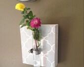 Beaker Tube Wall Vase - gray quatrefoil design-test tube flower holder- christmas gift- home decor